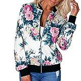 lbert Chaqueta de otoño e invierno para mujer con estampado de flores, chaqueta de punto, elegante chaqueta deportiva a la moda, chaqueta de entretiempo, chaqueta bomber, A2., L