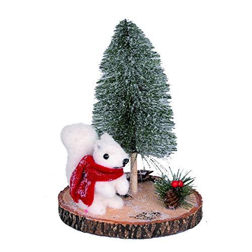 CENTROTAVOLA Mini Albero di Natale con Base Tronco da 30 cm, Abete innevato con Pupazzo Scoiattolo con pigne e Bacche, Decorazione con Supporto in Legno, Alberello di Natale Artificiale