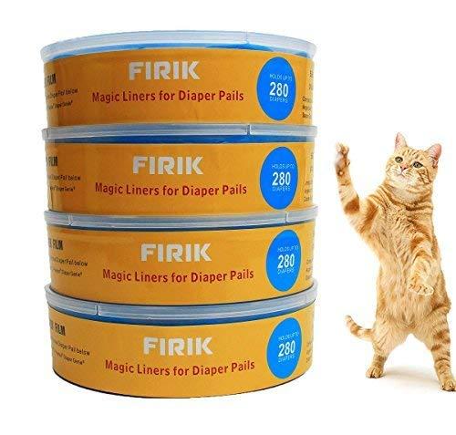 FIRIK Nachfüllkassette für Litter Locker II, CAT Litter Disposal System Nachfüllkassetten Entsorgungseimer Stechenden Geruch Versperren 4 Stück