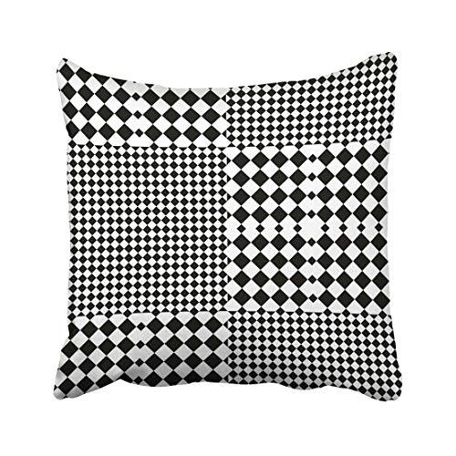 Funda de Cojine Diseño a cuadros con blanco negro y rombos con tartán de tablero de ajedrez óptico en estilo Op. Bauhaus Throw Pillow Cover Throw Cojín 45 X 45 CM