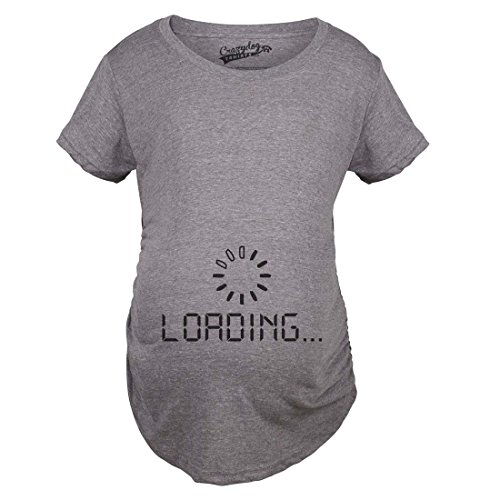 Crazy Dog Tshirts - Maternity Baby Loading Shirt Humor Funny Pregnancy Shirts Cheap Tees (Dark Heather Grey) - S - Femme