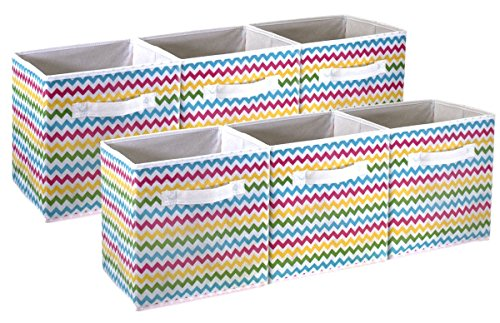 Sorbus Foldable Storage Cube Basket Bin - Great for Nursery, Playroom, Closet, Home Organization (Chevron Multi-Color, 6 Pack)