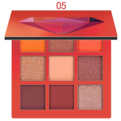 1Set 9 colores Shimmer Eyeshadow Mate Shimmer Paleta Shimmer Eyeshadow Mate Shimmer Maquillaje Impermeable Paleta Cosméticos Paleta de maquillaje Beauty Glzaed(05Orange)