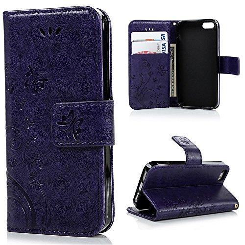 Regalos para mamá, funda para iPHONE 5, iPhone 5s, valentoria Premium Vintage Emboss mariposa Funda de piel tipo cartera con correa de muñeca para iPhone 5y 5S