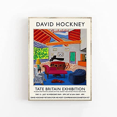 Póster de exposición de David Hockney, impresiones, dos perros en la habitación de Montcalm, arte de pared, lienzo decorativo sin marco, pintura Q-32 20x30cm