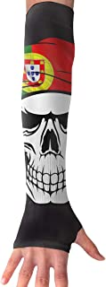 XIKEWL Unisex Portuguese Country Flag Skull Anti-Uv Protection Sun Arm Sleeves Gloves Comfort Sports Arm Sleeves for Cycling Driving Golf Basketball 1 Pair