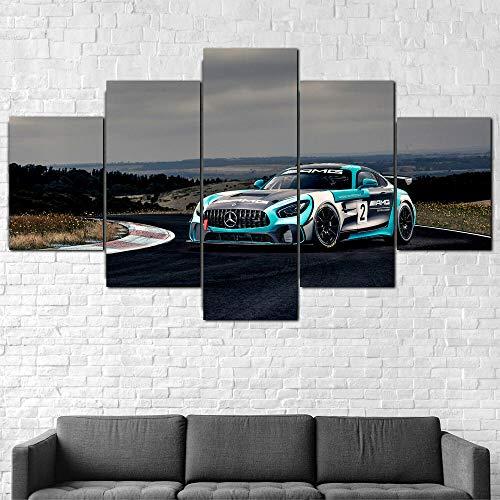 JUHAO Obra de Arte de múltiples Paneles, póster Modular decoración del hogar Moderno-Póster GT4 Super Sports Car-5 Piezas de Pintura en Lienzo, Decora tu hogar