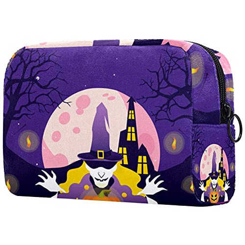 Bolsa de maquillaje compacta Neceser de viaje portátil para bolsas de cosméticos,fiesta de halloween interruptor wowan calabaza