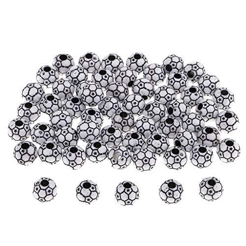 IPOTCH Bottoni Rotondi Colorati delle Perle del Pallone da Calcio di 60 Pezzi 12mm per La Fabbricazione di Gioielli - Nero Bianco, 12 Millimetri