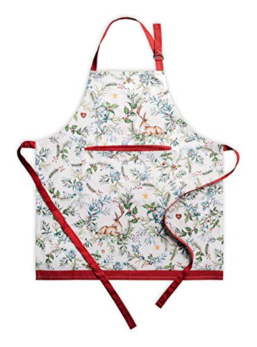 Maison d' Hermine Holly Time 100% Cotton 1 Piece Kitchen Apron with an Adjustable Neck & Hidden Centre Pocket with Long Ties for Women | Men | Chef | Thanksgiving/Christmas (27.50'x31.50')