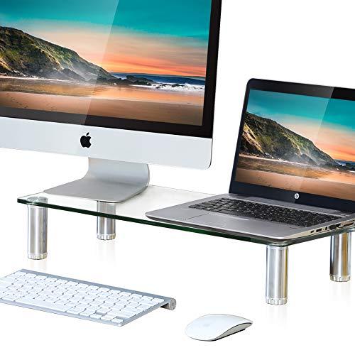 FITUEYES Glass Desktop Stand Computer Monitor Riser for Single Monitor+Laptop or Desktop DT106006GC