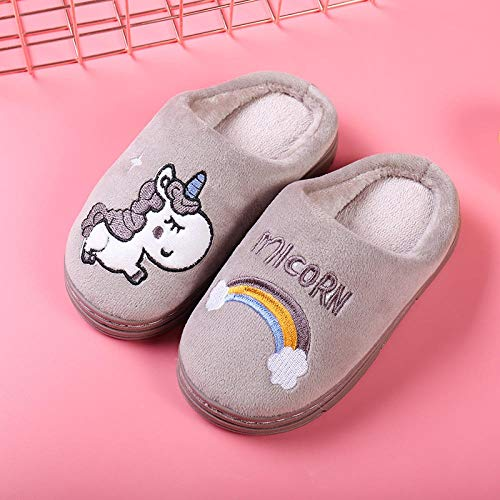 Zapatillas de algodón ZWwei para niños y niñas con dibujos animados lindos para padres e hijos para interiores y niños, con parte inferior suave, de algodón, color gris (color: azul marino, tamaño: 24-25/160 yardas)