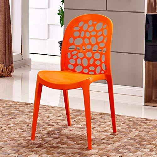 PLL Fashion Plastic Home Chair Creatieve Eenvoudige Rugleuning Computer Stoel Moderne Persoonlijkheid Barkruk Casual Volwassene Eetstoel Oranje