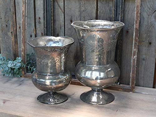 Chic Antique Vase mit Schliff Pokal Amphore Antik Silber Bauernsilber 2 Größen (Vase mit Schliff Pokal Amphore groß)