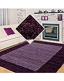 Carpet 1001 Shaggy, Pelo Largo Salón Alfombra Shaggy 2 de Color 3cm de Altura de Pelo de Color Púrpura Violeta - 240x340 cm