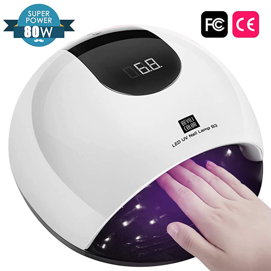 UV Nail Lamp for Gel Nails – 80W Professional UV/LED Dryer Faster Curling Gel Polish with 36 UV Lamp Beads and Infrared Auto Sensor, Big Space for Fingernail & Toenail Polish Salon Nail Art