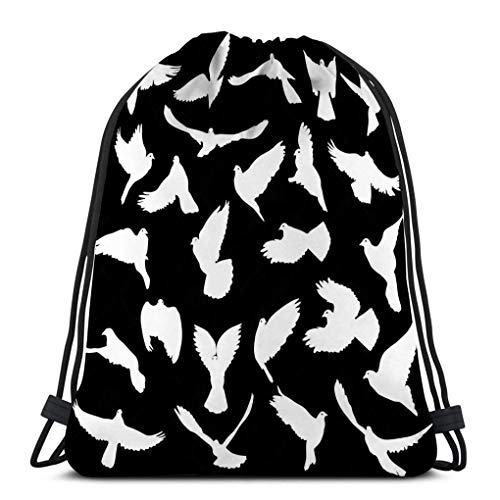 Lsjuee Lightweight Hiking Swimming Beach Drawstring Backpack Bag Concept Love Peace Set Silhouettes Doves Watercolor