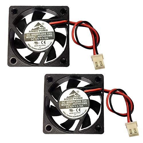 2 unidades 40 x 40 x 10 mm 4010 DC 12V 0.1A Ventilador de refrigeración sin escobillas de bajo voltaje 2pin AV-F4010MB UL CE