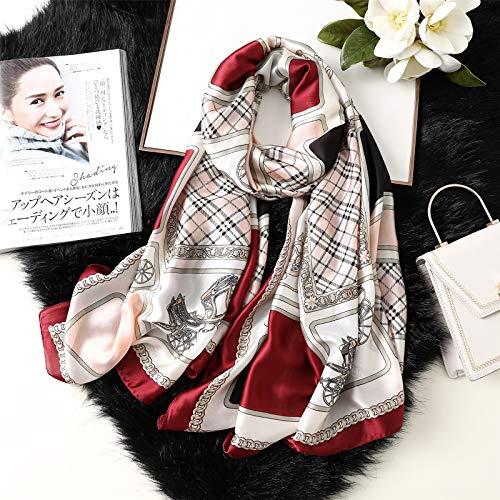 Pañuelo de Seda con Protección Solar para Mujer, Bufanda con Estampado Retro, Pañuelo de Playa de Seda para Mujer, Rojo Vino