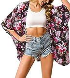 Camisola de Playa para Mujer Cardigan Corto Manga Media Pareos Cubrir Bikini Kimono Estampados de Flor Bikini Cover Up Protector Solar Traje de Baño de Playa para Chica (Flor 3, M)