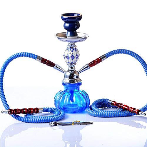 Moozic Shisha 2 Schlauch Wasserpfeife Arabischen Ursprungs Bunt Kürbis Schischa mit 2 Anschlüssen Kopfadapter Silikonschlauch Alumundstück,Blau