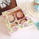 Paquete de 15 cajas de cupcakes de 4 cavidades con flores de papel Kraft con ventana, caja de galletas de pastelería, envoltura de pasteles de panadería, contenedor de cupcakes con apertura automática