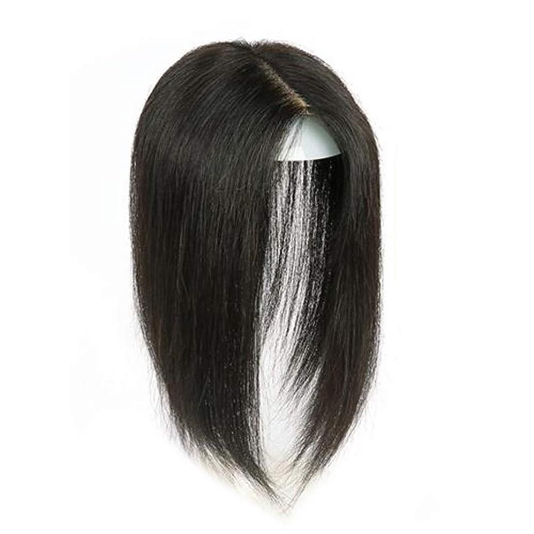 グリース是正するコードBOBIDYEE ナチュラルカラーストレートヘアダブルハンドヘアピース手織りリアルヘアウィッグ女性の日常的なドレス複合ヘアレースウィッグロールプレイングウィッグロングとショートの女性自然 (色 : Natural color, サイズ : 25cm)