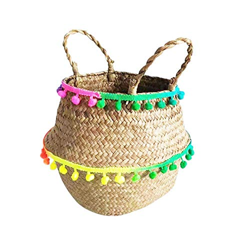 Seaweed Woven Storage Basket, Foldable Plant Pot, Used for Storage, Decoration, Picnic Groceries Container, Colorful Belly Basket(Medium)