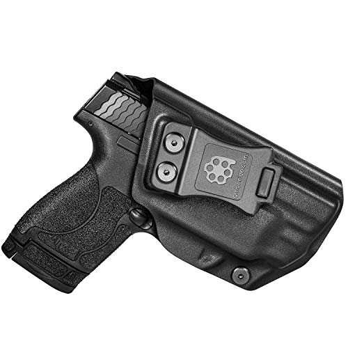 Amberide IWB KYDEX Holster Fit: S&W M&P Shield M2.0 9mm/.40 with Integrated CT Laser Pistol | Inside Waistband | Adjustable Cant | US KYDEX Made (Black, Right Hand Draw (IWB))
