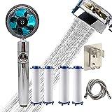 LEMORTH Cabeza de ducha de ahorro de agua, cabezal de ducha de potencia de alta presión, mano de alta presión Cabezal de ducha de potencia de 360 ° giratorio, kit turbo con interruptor de filtro y p