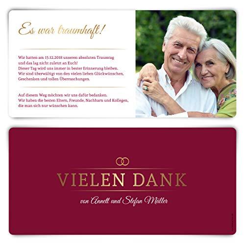 30 x Danksagungskarten goldene Hochzeit Hochzeitskarten Dankeskarten individuell mit Foto und Text DIN Lang 210x98mm - Burgunder Gold