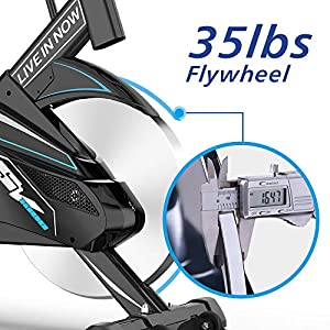 Pooboo Indoor Cycling Bike Belt Drive Exercise Bike Stationary with Comfortable Seat Cushion, Tablet Holder, LCD Monitor for Home Workout