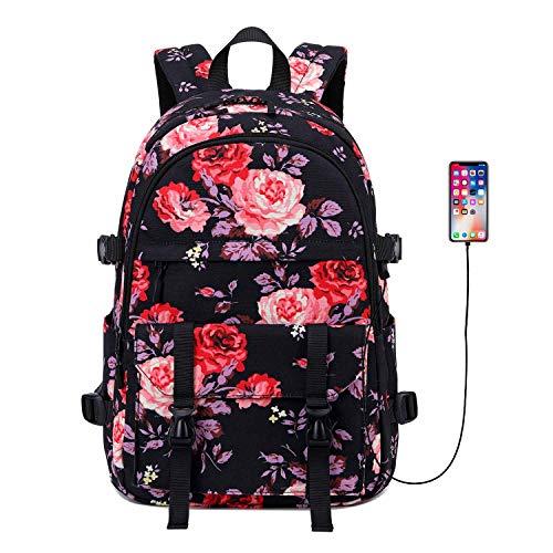Mochila escolar Vmokki para niñas, grande, con correa de pecho, puerto USB, con diseño de flores Negro Negro talla única