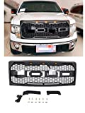 VZ4X4 Front Grill Fit for 2009 2010 2011 2012 2013 2014 Ford F150 with Amber Lights and Replaceable Letters - Matte Black