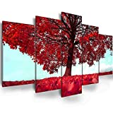Abstract Red Tree Printed - Ephany Art - Abstract Tree Wall Art Red Tree Painting For Living Room,Bedroom,Canvas Print Framed Wall Art,Picture Painting for Room Home Decorations (C-5pcs,40'x20')