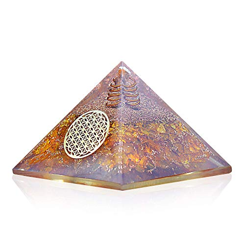 Orgonite Crystal Citrine Flower of Life Orgone Pyramid for Wealth and Success – Merchant's Stone for Comfort and Positive Energy - Crystal Carries Power Of Sun - Handmade In India