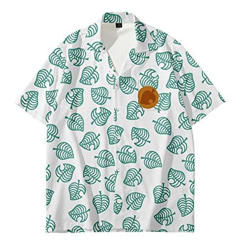 Camisa De Manga Corta con Cuello En V para Niño/Niña Camisa Cosplay Animal Crossing Tom Nook Parte Superior Impresa En 3D Camisa De Estilo Hawaiano