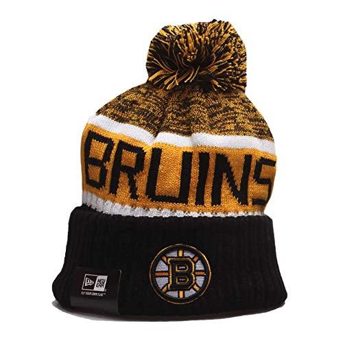 Yajun NHL Boston Bruins Strickmütze Sport Beanie Cap Multicolor Ohrenschutz Running Hats,A
