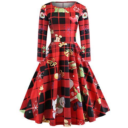 OverDose Damen Frohe Weihnachten Stil Frauen Vintage Print Langarm Weihnachten Abend Party Cosplay Elegante Slim Swing Kleid Geschenk(Z-Rot,2XL)