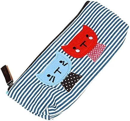 eDealMax precioso gato de Doble Raya el Modelo Decoración gobernantes cremallera papelería Pluma lápiz Titular caso