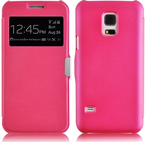 JammyLizarD Sichtfenster Hülle für Samsung Galaxy S5 Mini | Fenster Flip Hülle Cover R&umschutz Etui mit Magnetverschluss, Knallrosa