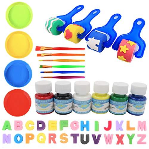 Gwxevce 46Pcs / Set DIY Graffiti Kunststoffgriff Roller Schwammbürste Kinder Zeichnen Spielzeug Blau