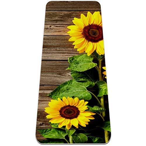 Esterilla Yoga Mat Antideslizante Profesional - Fondo de otoño con tabla de madera - Colchoneta Gruesa para Deportes - Gimnasia Pilates Fitness - Ecológica