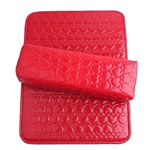Nail professionnel rectangulaire oreiller à la main ensemble PU imperméable à l'eau effaçable repose-mains tapis soulager bras fatigue respirable manucure outil,Red,1pcs