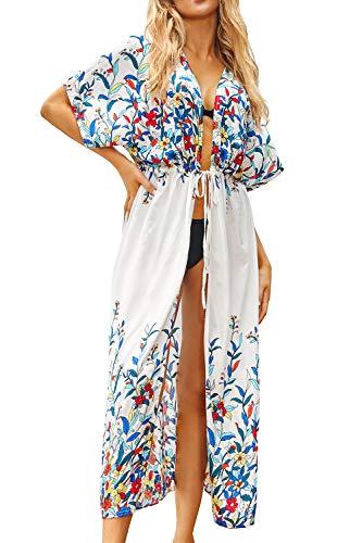L-Peach - Túnica de playa para mujer, vestido para verano, camisola, caftán, para cubrir traje de baño Impresión en blanco. Talla única