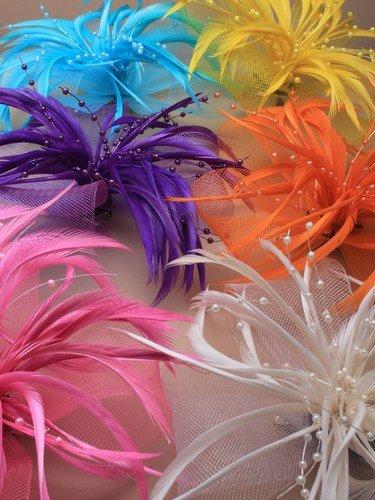 Cristal innovation-4412 Jaune aux couleurs vives Grand à filet et plumes sur un double clip et broche