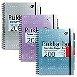 Pukka Pad Metallic - Cuaderno ejecutivo de espiral doble (3 unidades, A4, 200 hojas microperforadas, 80 g/m², con margen, 5 separadores, cierre elástico), diseño metalizado