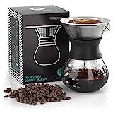 Cafetera de goteo'Pour Over' manual con filtro de café permanente de acero inoxidable y jarra. (300ml)