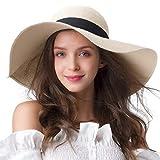 FURTALK - Moderno sombrero de verano para mujeres con ala ancha UPF50+ gorro de playa para viajes de verano beige M