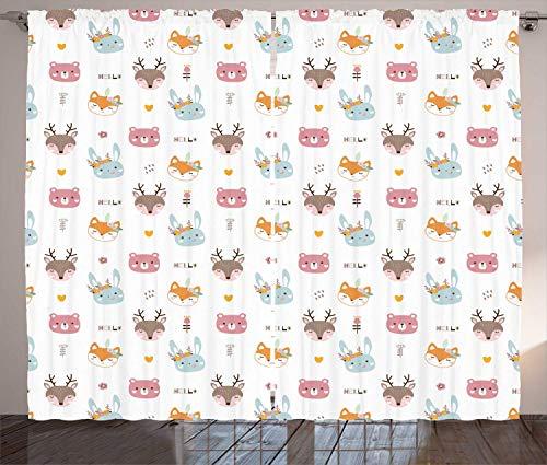 LULUZXOA Fox Curtains, Bear Deer Rabbit in Floral Wreath Nursery Theme Print Baby Fauna Pastel Art, Living Room Bedroom Window Drapes 2 Panel Set, Multicolor,110 * 63 inch